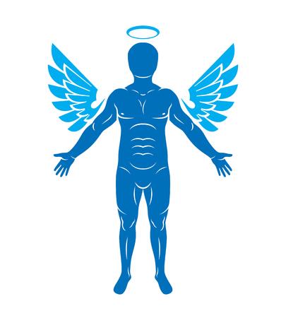 aureole: Vector illustration of human, athlete made using angel wings and nimbus. Holy Spirit, cherub metaphor.