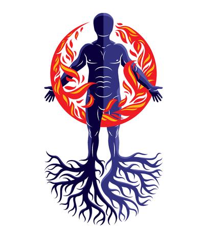 나무 뿌리, 불 덩어리 덮여 강력한 에너지의 무리로 화재 사람으로 구성 된 운동 남자의 벡터 일러스트 레이 션.