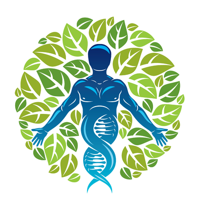 Vector graphic illustration of muscular human depicted as DNA strands continuation and created with ecology tree leaves. Green thinking technology innovations, ecology conservation concept. Illustration