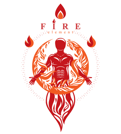 Vector graphic illustration of strong male, body silhouette standing. Fire person as bunch of the powerful energy covered with a fireball. Stock Vector - 85335133