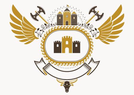 Escudo heráldico hecho en diseño retro, emblema decorativo con alas, arsenal y torre medieval Foto de archivo - 85335414
