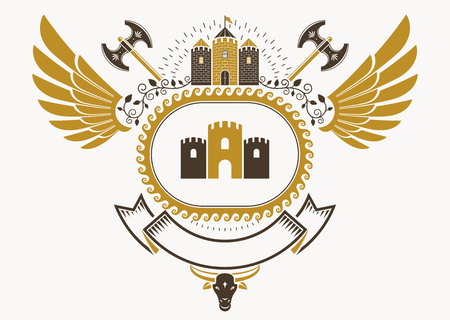 Heraldic coat of arms made in retro design, decorative emblem with wings, armory and medieval tower