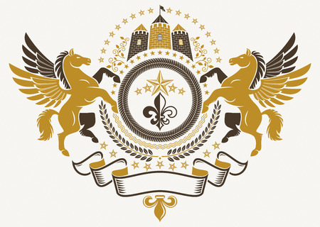 bastion: Heraldic Coat of Arms, vintage vector emblem created with graceful Pegasus illustration, lily flower and medieval castle.