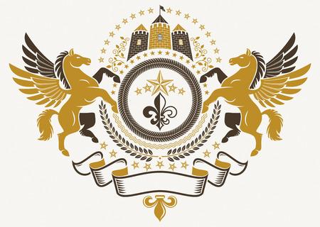 Heraldisch Wapenschild, uitstekend vectordieembleem met bevallige Pegasus-illustratie, leliebloem en middeleeuws kasteel wordt gecreeerd.