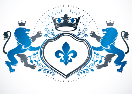 fleurdelis: Retro vintage Insignia made with vector design elements like with imperial crown and wild lion