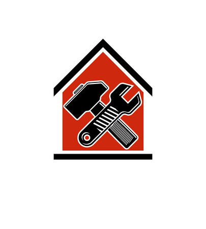 Spanner and mallet crossed, vector industrial utensil, building construction. Simple house with work tools, workshop. Home reconstruction idea, for use in web design.