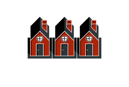 Simple cottages with heart symbol, love and romance idea. Houses vector illustration.