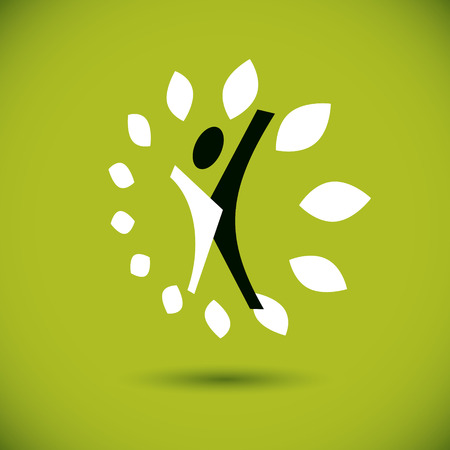 Vector illustration of excited abstract person with raised hands up. Go green idea creative logo. Vegetarian theme icon. Wellness and harmony symbol.
