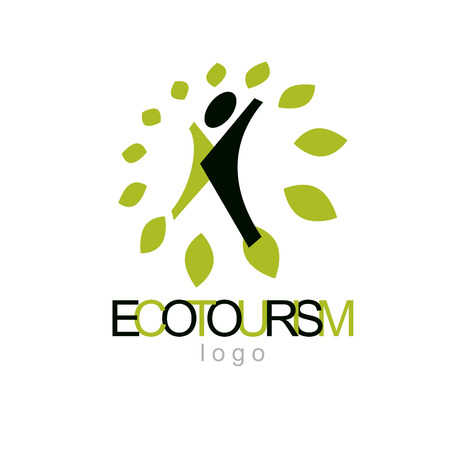 Vector illustration of joyful abstract individual with raised hands up. Ecotourism conceptual logo. Environmental conservation theme symbol.