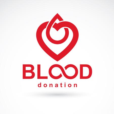Inscripción de donación de sangre aislado en blanco y creado con gotas de sangre de vector rojo, forma de corazón y símbolo de infinito. Logotipo gráfico del tema médico para el uso en organizaciones caritativas.
