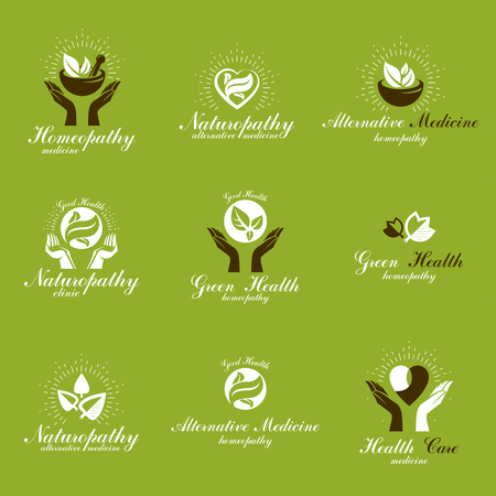 science symbols metaphors: Homeopathy creative symbols collection. Restoring to health conceptual vector emblems created using green leaves, heart shapes, religious crosses and caring hands.