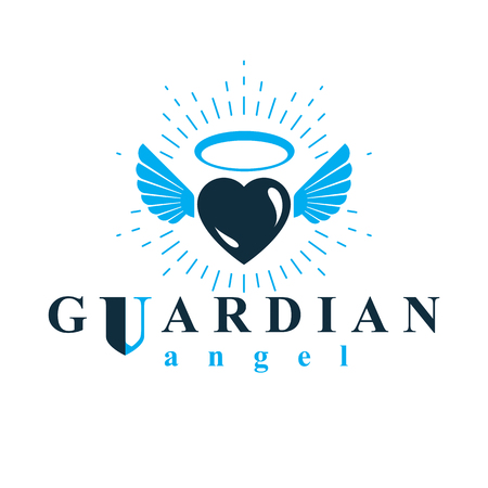 Hart vector grafische illustratie, liefde en vrijheid metafoor symbool. Guardian angel vector abstracte embleem. Stock Illustratie