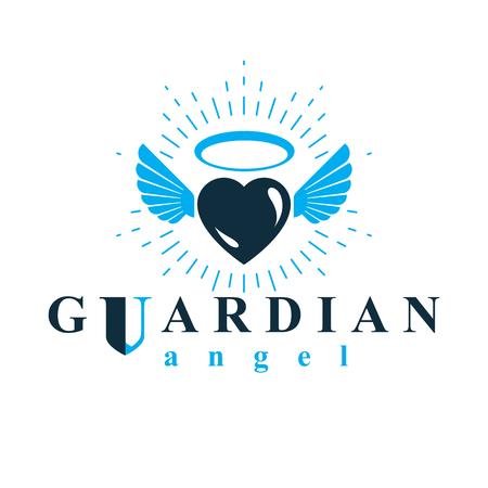 Simbolo della metafora dell'illustrazione grafica, dell'amore e della libertà di vettore del cuore. Emblema dell'estratto di vettore di angelo custode. Archivio Fotografico - 85335288