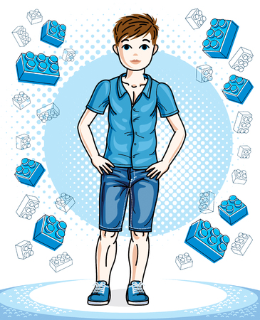 guy standing: Young teen boy cute nice standing in stylish casual clothes. Vector kid illustration. Fashion and lifestyle theme cartoon.