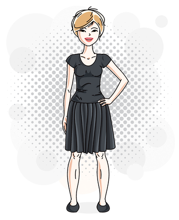 Beautiful blonde woman adult standing on decorative background with bubbles and wearing casual clothes. Vector attractive female illustration. Lifestyle theme cartoon. Vetores
