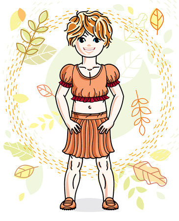 Little red-haired girl toddler standing on background of autumn landscape and wearing fashionable casual clothes. Vector attractive kid illustration. Fashion and lifestyle theme cartoon. Illustration