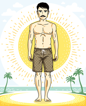 Handsome brunet man with whiskers poses on tropical beach in shorts. Vector character. Summer holidays theme.