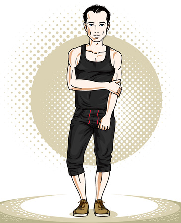 Handsome athletic  brunet young man standing. Vector illustration of sportsman.  Active and healthy lifestyle theme clipart.