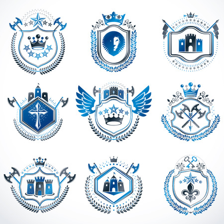 citadel: Set of vector vintage emblems created with decorative elements like crowns, stars, bird wings, armory and animals.  Collection of heraldic coat of arms.