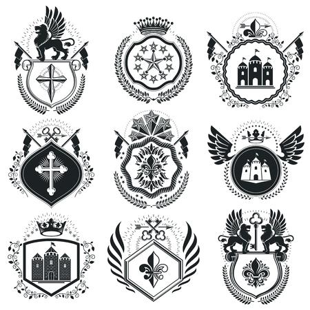 citadel: Retro vintage Insignias. Vector design elements. Coat of Arms collection, vector set. Illustration