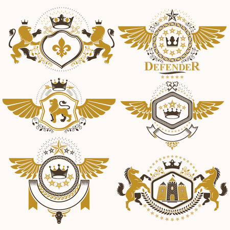 Heraldic vector signs decorated with vintage elements, monarch crowns, religious crosses, armory and animals. Set of classy symbolic graphic insignias with bird wings. Illustration