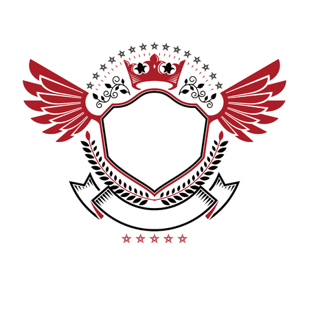 Graphic winged emblem composed with royal crown element, laurel wreath and pentagonal stars.