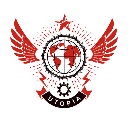 A Vector emblem composed using Earth globe surrounded with industrial gear and decorated using pentagonal star. Proletarian social revolution abstract symbol, totalitarian utopia.