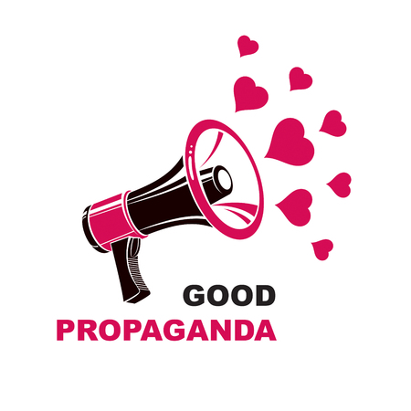 Vector flyer template created with loudspeaker equipment and good propaganda inscription and loving hearts. Propaganda as a powerful weapon of influence on social behavior, LGBT concept.
