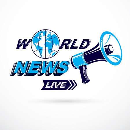 Public information campaign idea vector poster, world live news writing composed using megaphone equipment. Illustration