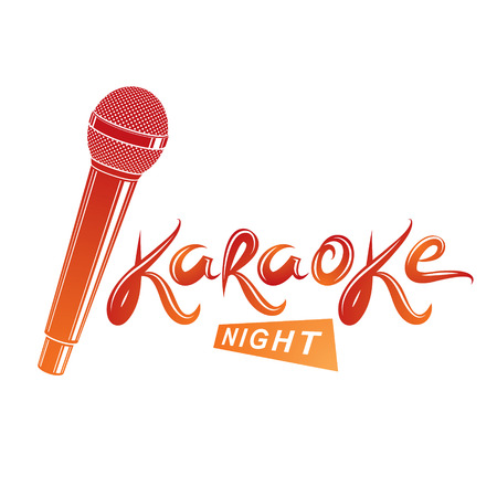 Nightlife entertainment concept, karaoke night vector inscription composed with stage microphone illustration. Leisure and relaxation lifestyle presentation. Illustration