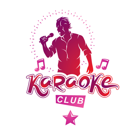 Vector illustration of content man singing, soloist holds a microphone in hand. Karaoke club, feel yourself famous superstar. Illustration