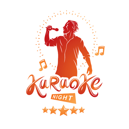 Karaoke night and nightclub discotheque vector invitation poster created with musical notes, stars and soloist singing and holding a microphone in hand.