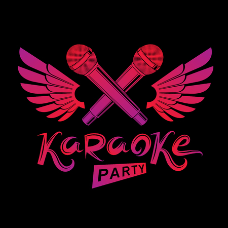 Stage microphone audio equipment created using bird wings, live music concert vector invitation emblem. Music and art makes you free, karaoke party lettering.