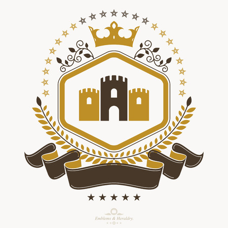 Vintage award design, vintage heraldic Coat of Arms. Vector emblem. Ilustração