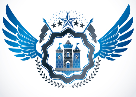 Heraldic coat of arms decorative emblem with wings created using ancient castle and pentagonal stars. Illustration