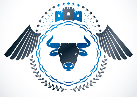 Heraldic winged emblem isolated vector illustration decorated using wild bull head illustration and medieval castle.
