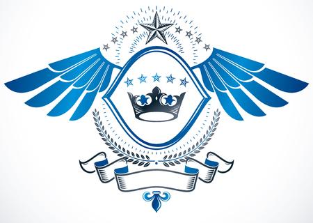 Vintage decorative emblem composed using monarch crown and pentagonal stars., heraldic vector. Illustration