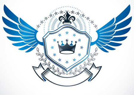 Vintage decorative winged emblem composed using lily flower, monarch crown and stars, heraldic vector.