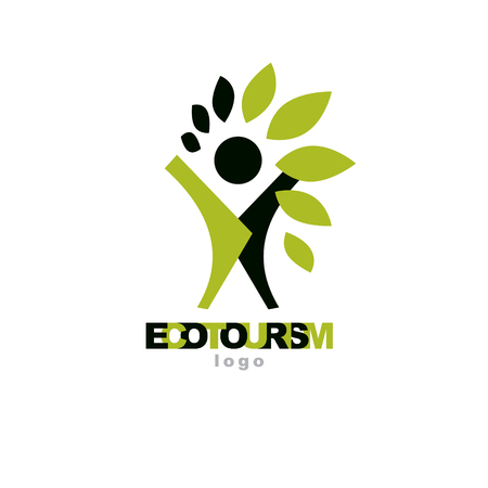 A Vector illustration of happy abstract individual with raised hands up. Ecotourism conceptual logo. Environmental conservation theme symbol.
