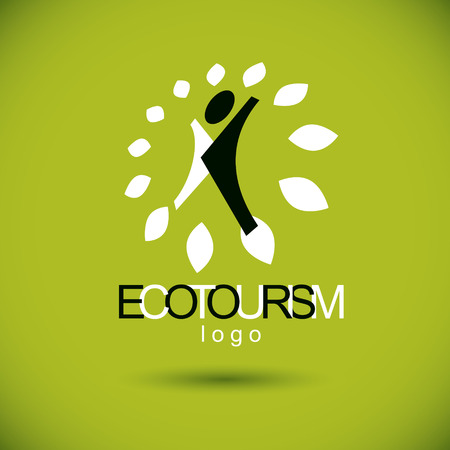 Vector illustration of excited abstract person with raised hands up. Ecotourism conceptual logo. Environmental conservation theme symbol.