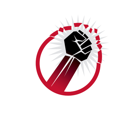 Vector illustration of clenched fist breaks the wall. No restrictions conceptual emblem.