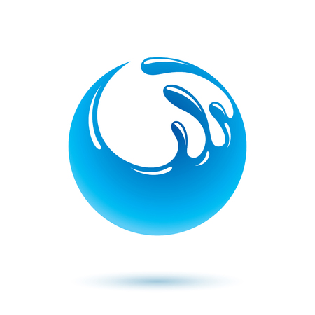 Sea wave splash vector logo. Pure water as the driving force for human activity theme. Environment conservation concept.