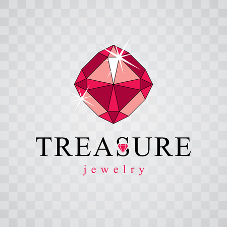 Vector precious decorative element, polygonal. Luxury diamond sign emblem, logotype. Brilliant jewelry illustration.
