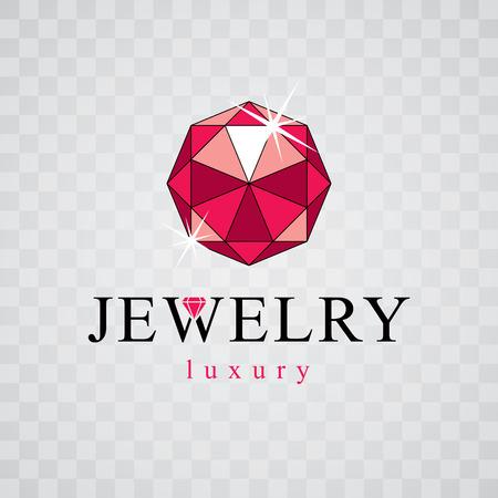 Vector precious decorative element, polygonal. Luxury diamond emblem, illustration.
