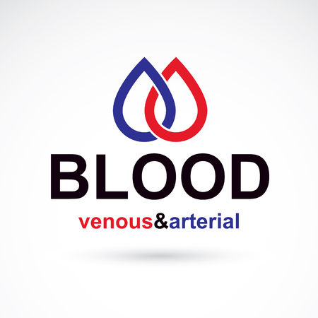 systole: Arterial and venous blood, blood circulation conceptual vector illustration. Cardiology medical care vector emblem for use in pharmacy.