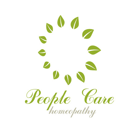 Green spring leaves vector symbol for use in holistic medicine, rehabilitation or pharmacology. Wellness and harmony symbolic emblem. Illustration