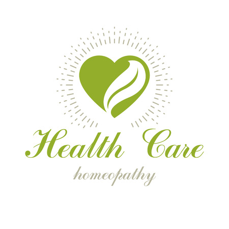 Vector heart shape composed with green leaves. Restoring to health conceptual logo for use in medical treatment organizations.