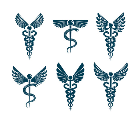 Set of vector Caduceus symbols created using bird wings and snakes. Medical treatment and rehabilitation theme illustrations.