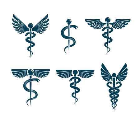 A Vector winged Caduceus illustrations collection. Pharmacology and healthcare idea emblems. Illustration