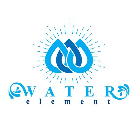 spring balance: Vector blue clear water drop logo for use as business emblem in spa and resort organizations.